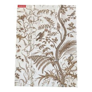 "Brunschwig & Fils Iconic ""Bird and Thistle"" Pattern Wallpaper in Beige Colorway For Sale"