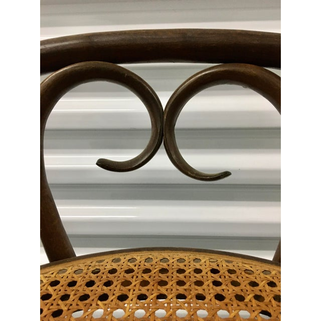 """Beautiful vintage Salvatore Leone """"1970s does Victorian"""" Thonet style Bentwood caned rattan barstool bistro chair. Made in..."""