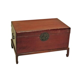 19th Century Chinese Red Lacquer Leather Trunk For Sale