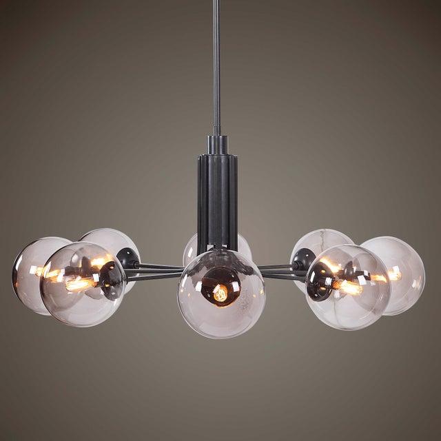 Metal Modern 8 Light Chandelier For Sale - Image 7 of 8