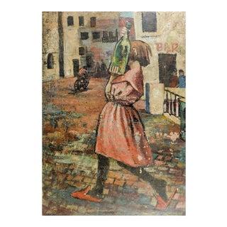 Wine Bottle & Girl Modernist Street Scene Painting For Sale