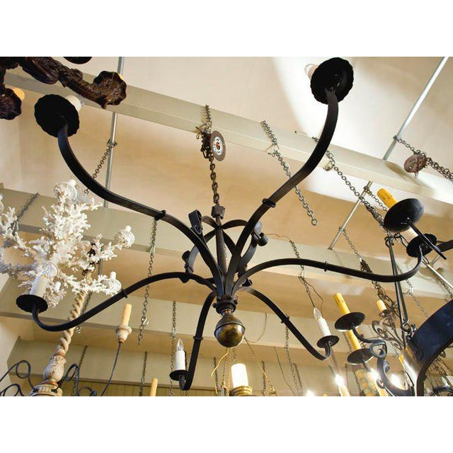 """Monumental Custom Forged-Iron """"Defiance"""" Chandelier with Large Brass Ball Finial For Sale - Image 5 of 7"""
