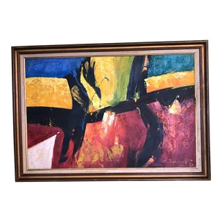 1980s Abstract Expressionist Acrylic Signed Painting, Framed For Sale
