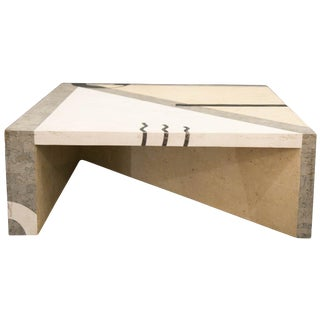 Marble and Metal Inlay Coffee Table by Oggetti Tavola