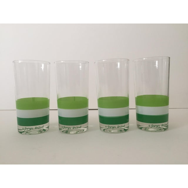 This set of 4 authentic vintage Georges Briard Mid Century tri color green striped tumbler drinking glasses is a very...