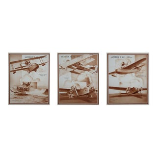 French 1930's Airplanes Sepia Tone Lithographs - Set of 3 For Sale