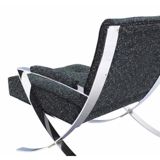 Chrome Scissor X-Base Chrome Lounge Chair with New Upholstery For Sale - Image 7 of 9