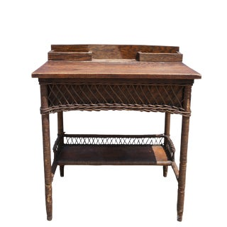 20th Century Arts and Crafts Oak & Wicker Flip Top Secretary Desk For Sale