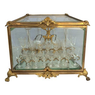French Tantalus Drinks Set of Gilt Bronze - 20 Piece Set For Sale