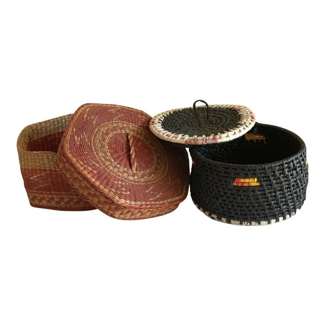 Natural Woven Boho Basket Boxes - A Pair - Image 1 of 10