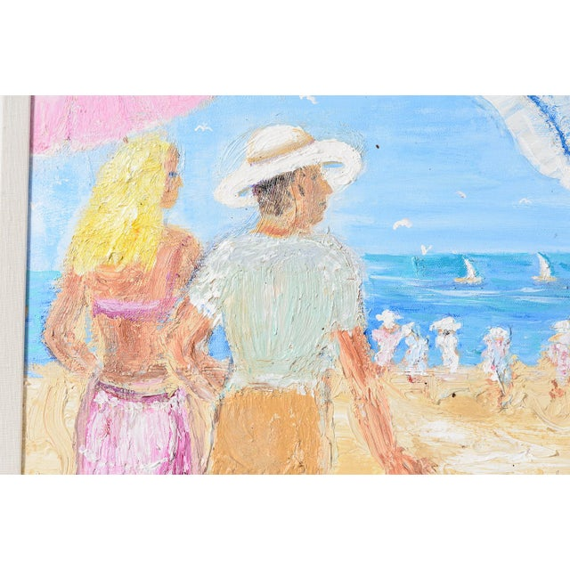 Canvas Oil on Canvas Umbrella Beach by Artist Jean Le Page For Sale - Image 7 of 11