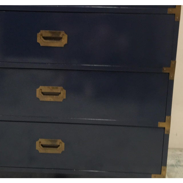 Bernhardt Bernhardt Navy Campaign Style Chest For Sale - Image 4 of 7