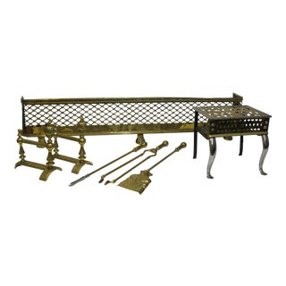 Brass Lattice Fireplace Set For Sale