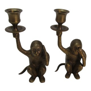 Pair of Vintage Brass Monkey Candlesticks For Sale