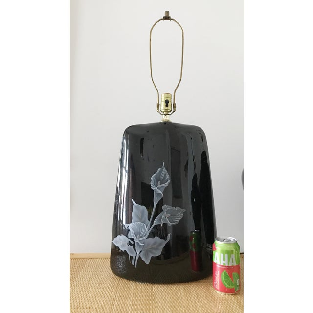 Mid-Century Modern 1980s Large Art Deco Black Floral Ceramic Table Lamp For Sale - Image 3 of 6
