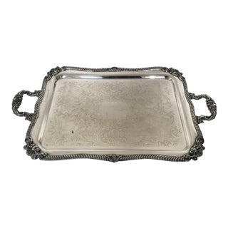 1920s Large Silver on Copper Footed Serving Tray For Sale