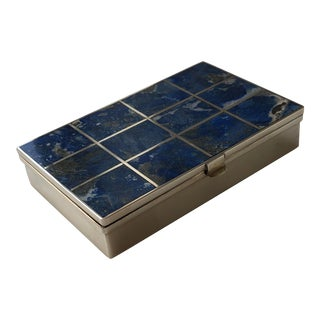 1960s Vintage Lapis Lazuli Stone and Silver Box For Sale