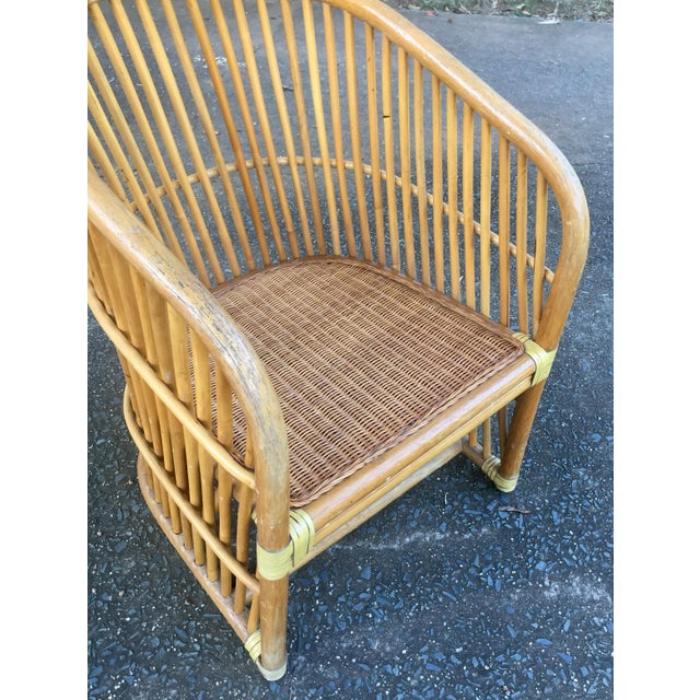 Vintage Rattan Barrel Chair - Image 9 of 11