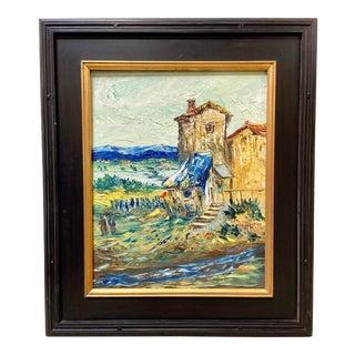 Vintage Post-Impressionist Landscape Oil Painting Signed For Sale