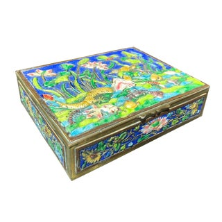 Vintage Chinese Enamel Box With Underwater Scene For Sale
