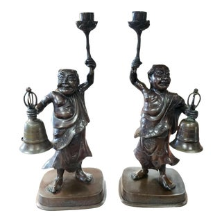 C. 1880 Japanese Bronze Figural Temple Candlesticks (Meiji Period) - a Pair For Sale