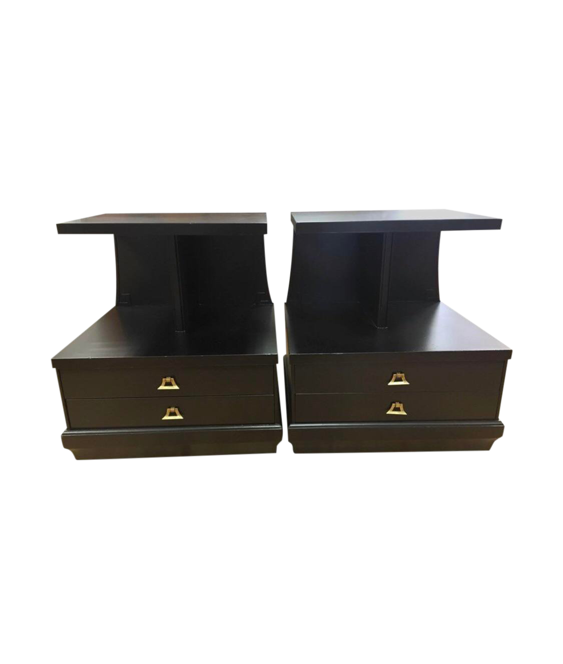 French Art Deco Ebonized End Tables Nightstands   A Pair For Sale