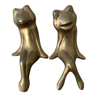 Mid Century Brass Frogs - a Pair For Sale