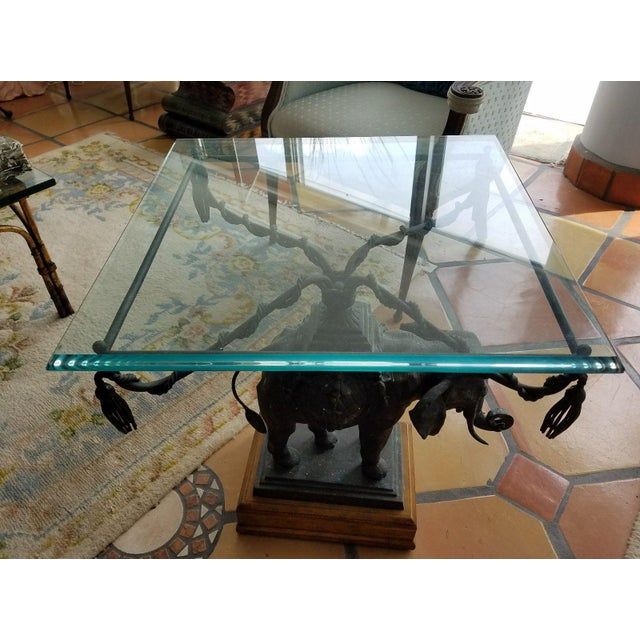 1970's Vintage Maitland Smith Bronze Leather & Glass Elephant Table For Sale - Image 10 of 13