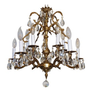 1950s French Brass 5 Arm 10 Light Cut Lead Crystal Chandelier For Sale