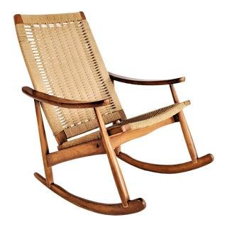 1960's Hans Wegner Style Rope Rocking Chair