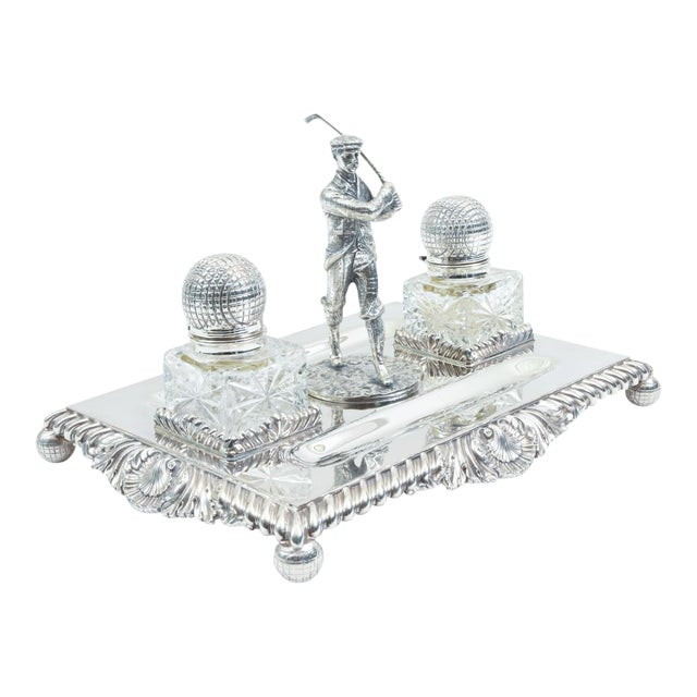 English Sheffield Silver Plated Golfer Footed Desk Inkwells With Stand For Sale