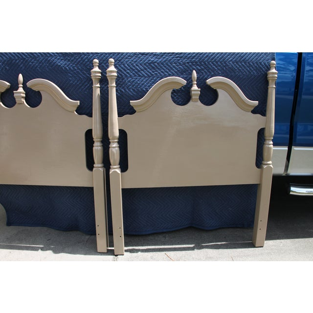 Hollywood Regency Georgian Camel / Putty Gloss Twin Headboards - a Pair For Sale - Image 6 of 10