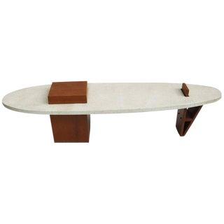 "Harvey Probber Style ""Surfboard"" Terrazzo and Walnut Coffee Table"