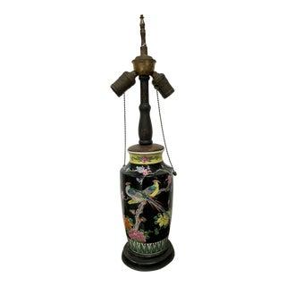 Vintage Chinese Black Base Multicolored Floral Bird Porcelain Vase Table Lamp For Sale