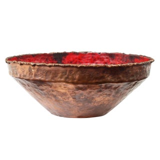 Marcello Fantoni Red Enamel & Copper Bowl For Sale