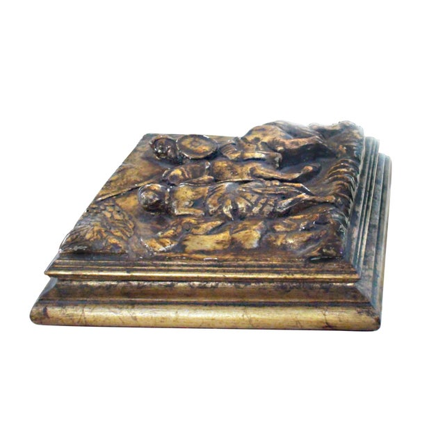"Antique hinged velvet lined box (13""L x 13""W x 4""H) with a frieze of Don Quixote on horseback with Sancho Panza at his side."