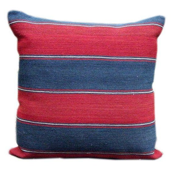 Caucasus 19th C. Blue & Red Striped Kilim Pillow - Image 1 of 2