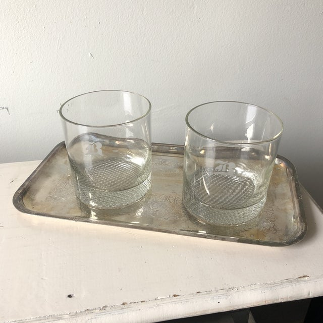 1970s B Monogrammed Rock Glasses With Silver Tray** - Set of 3 For Sale - Image 11 of 11