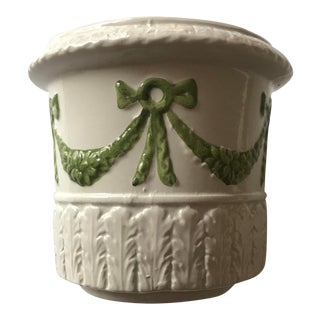 Vintage Italian Ceramic Planter With Green Garland For Sale