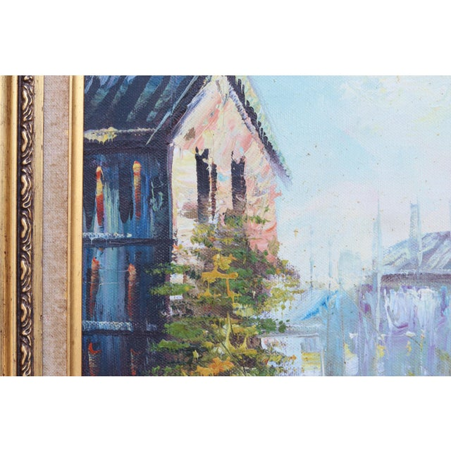 French Street Scene Oil Painting For Sale - Image 5 of 8