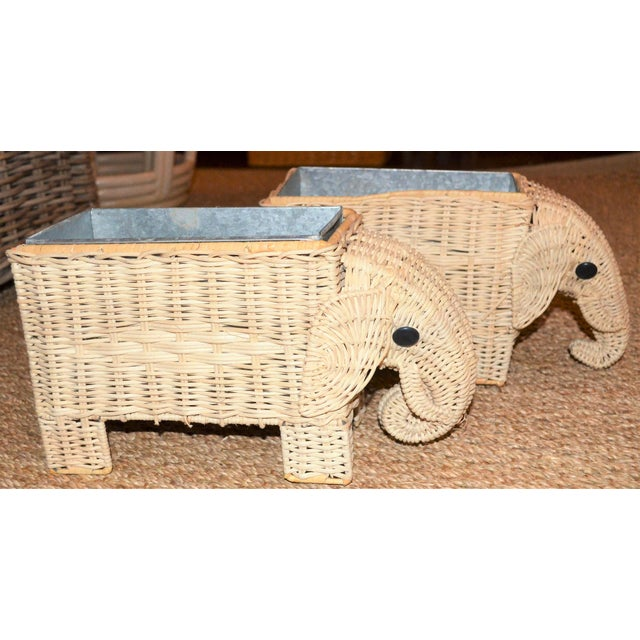 2010s Boho Chic Wicker Elephant Basket Planters - a Pair For Sale - Image 5 of 12