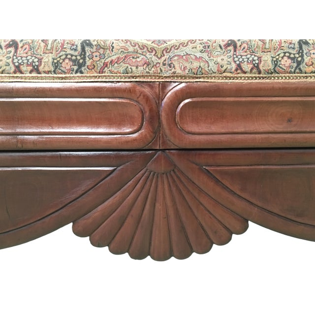 Orange French Carved Walnut Bench, Sofa, Daybed Upholstered in Original Damask For Sale - Image 8 of 10