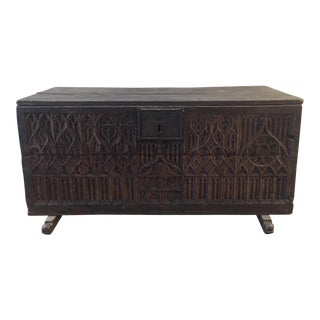 18th Century French Gothic Hand Carved Oak Chest Trunk For Sale