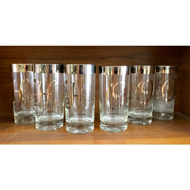 Mid-Century Silver Rimmed Glasses, Set of 6 For Sale In Miami - Image 6 of 7