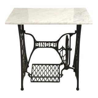 Vintage Marble Top Singer Sewing Machine Table For Sale