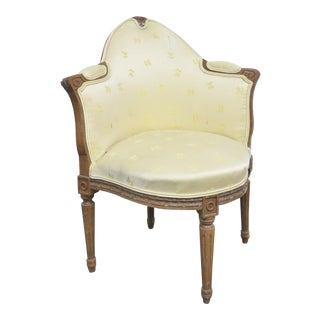 Louis XVI Style Walnut Carved Corner Chair For Sale