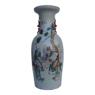 Chinese Hand Painted 5 Immortals & Tai Chi Scroll Motif Big Porcelain Vase