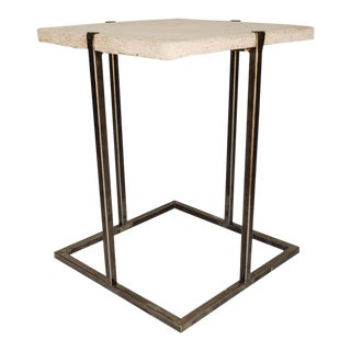 Concrete and Iron End or Side Table For Sale
