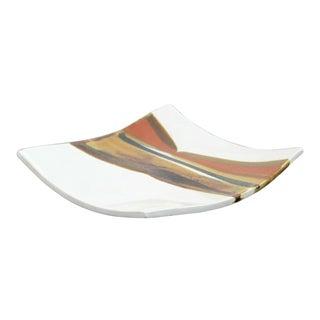 Mid Century Modern Retro Signed Ceramic Art Plate 1960s Brown Orange For Sale