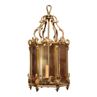 Mid-20th Century French Bronze Hexagonal Three-Light Lantern With Beveled Glass For Sale